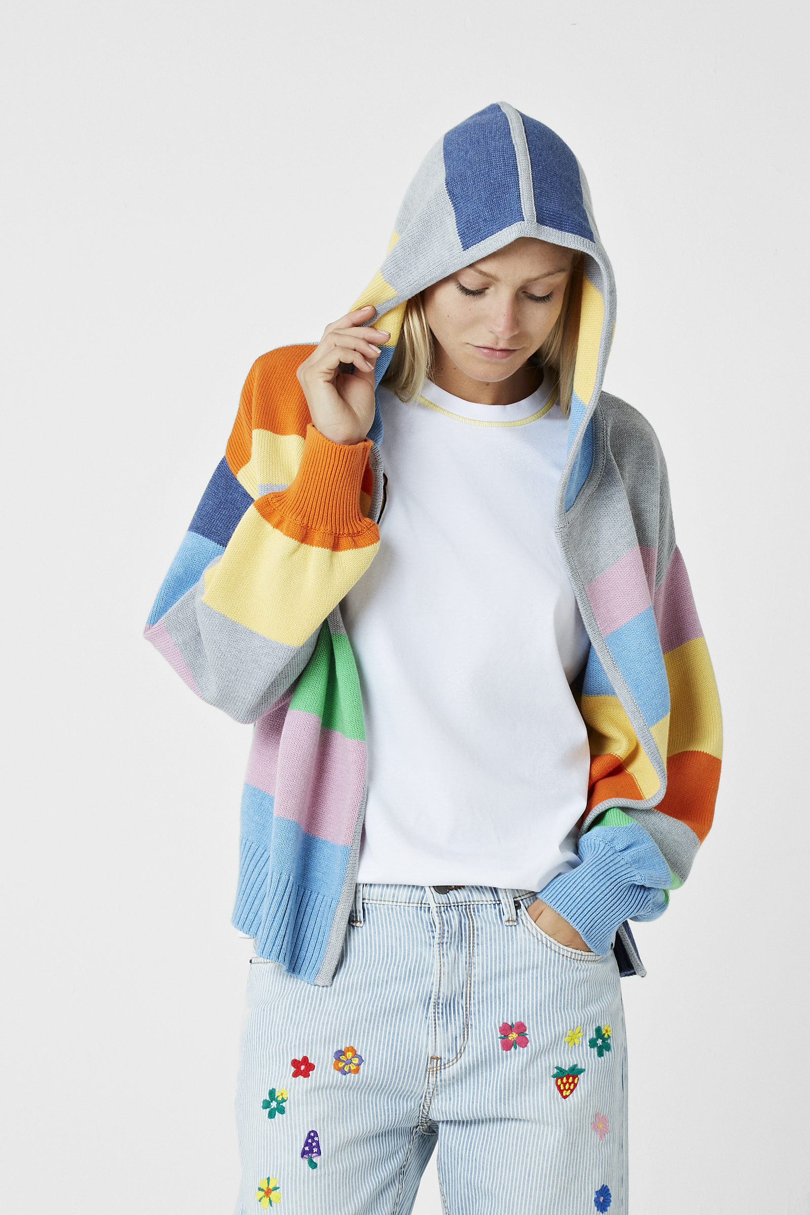 Striped Breathe In-Out Embroidered Hoodie