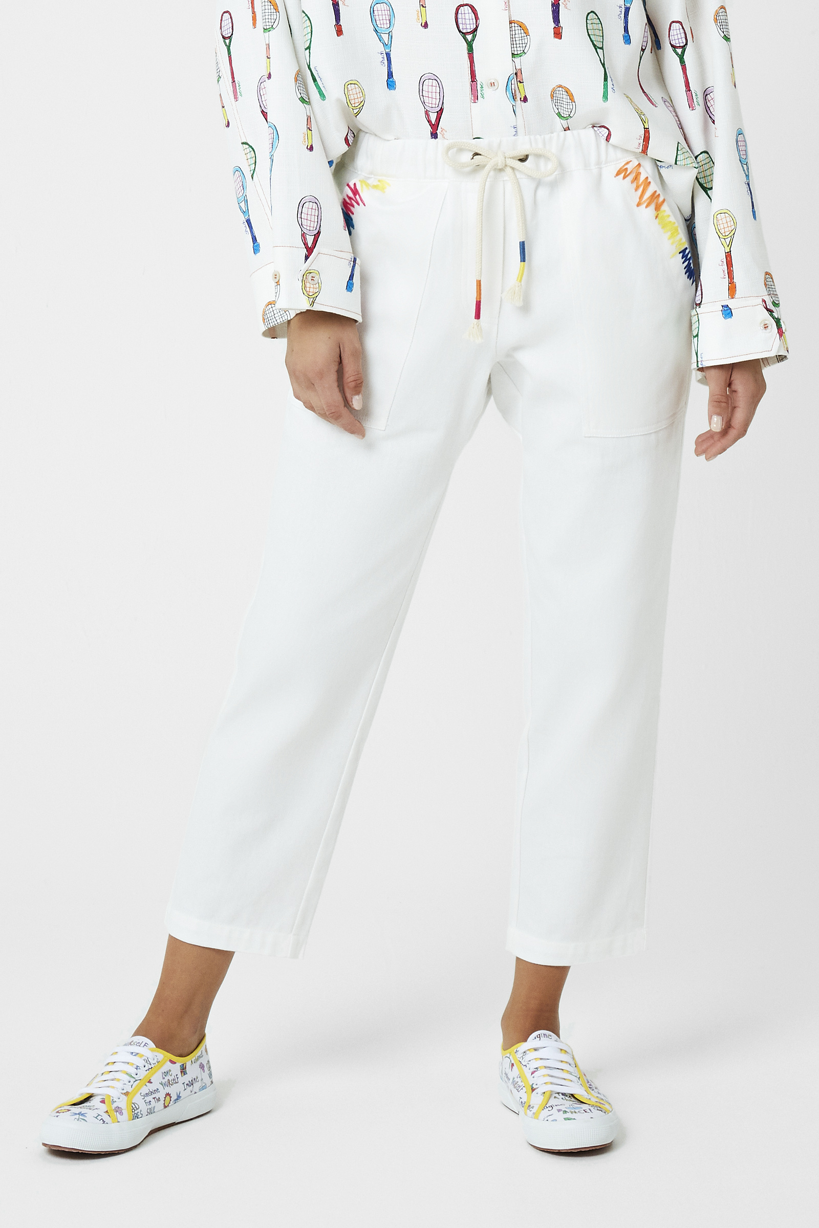 Embroidered Patch Pocket Trousers