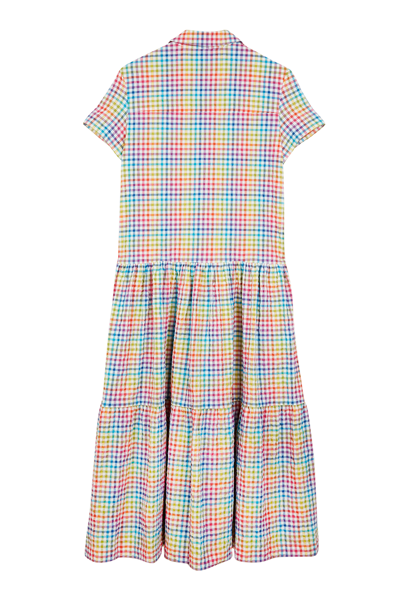 Rainbow Check Short Sleeve Dress