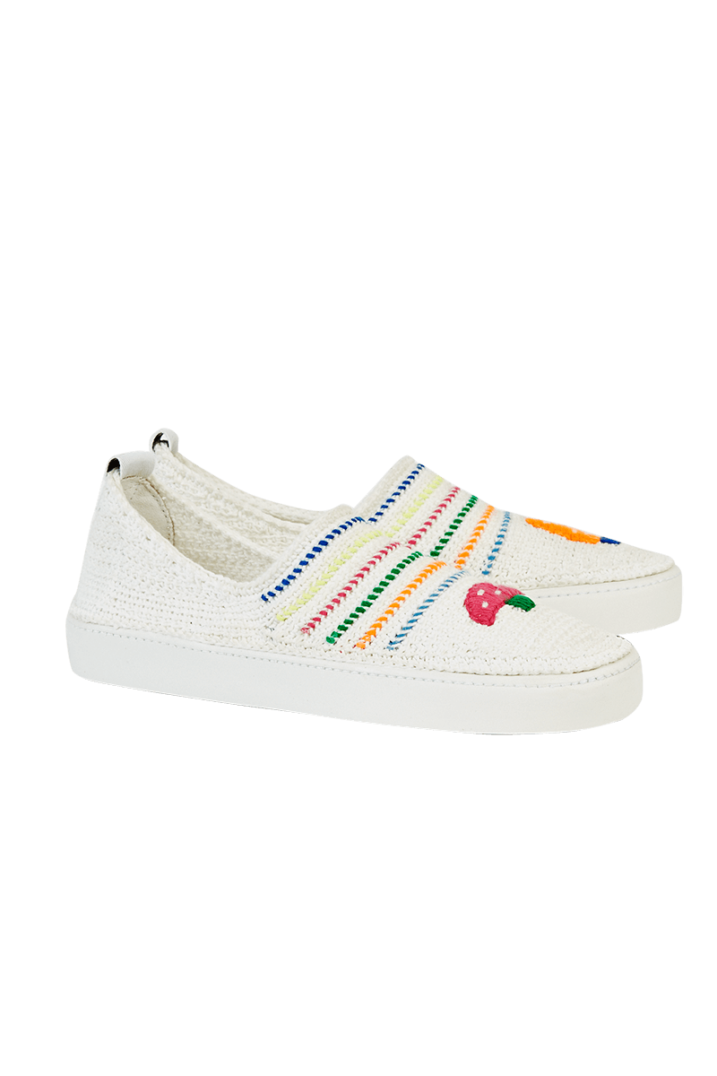 Amrose x Mira Mikati Crochet Slip-On Trainers