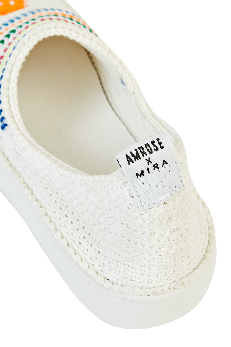 Amrose x Mira Mikati Crochet Slip-On Trainers detail