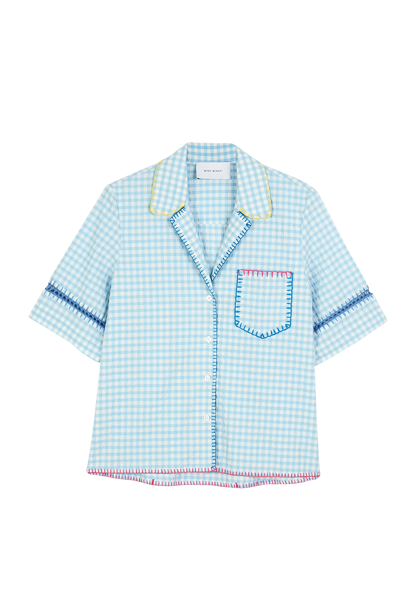 Yarn Embroidered Gingham Shirt