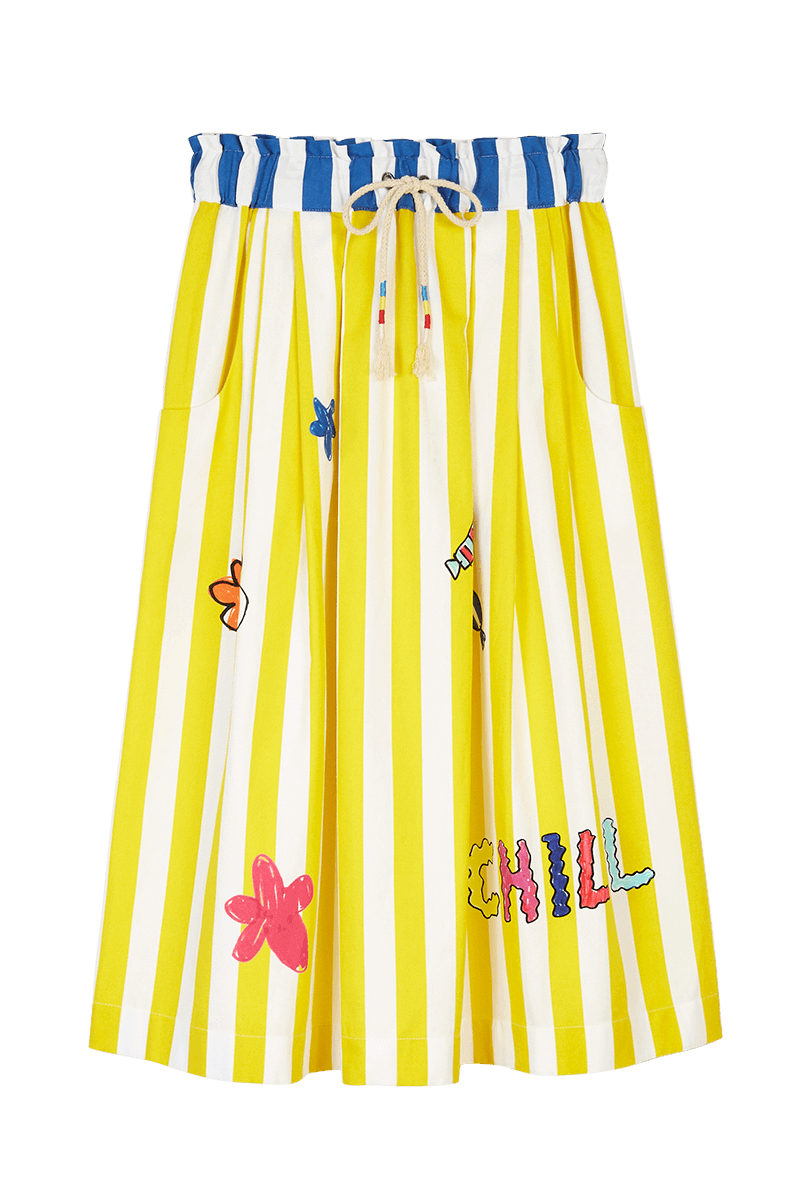 Stripe Print Drawstring Midi Skirt
