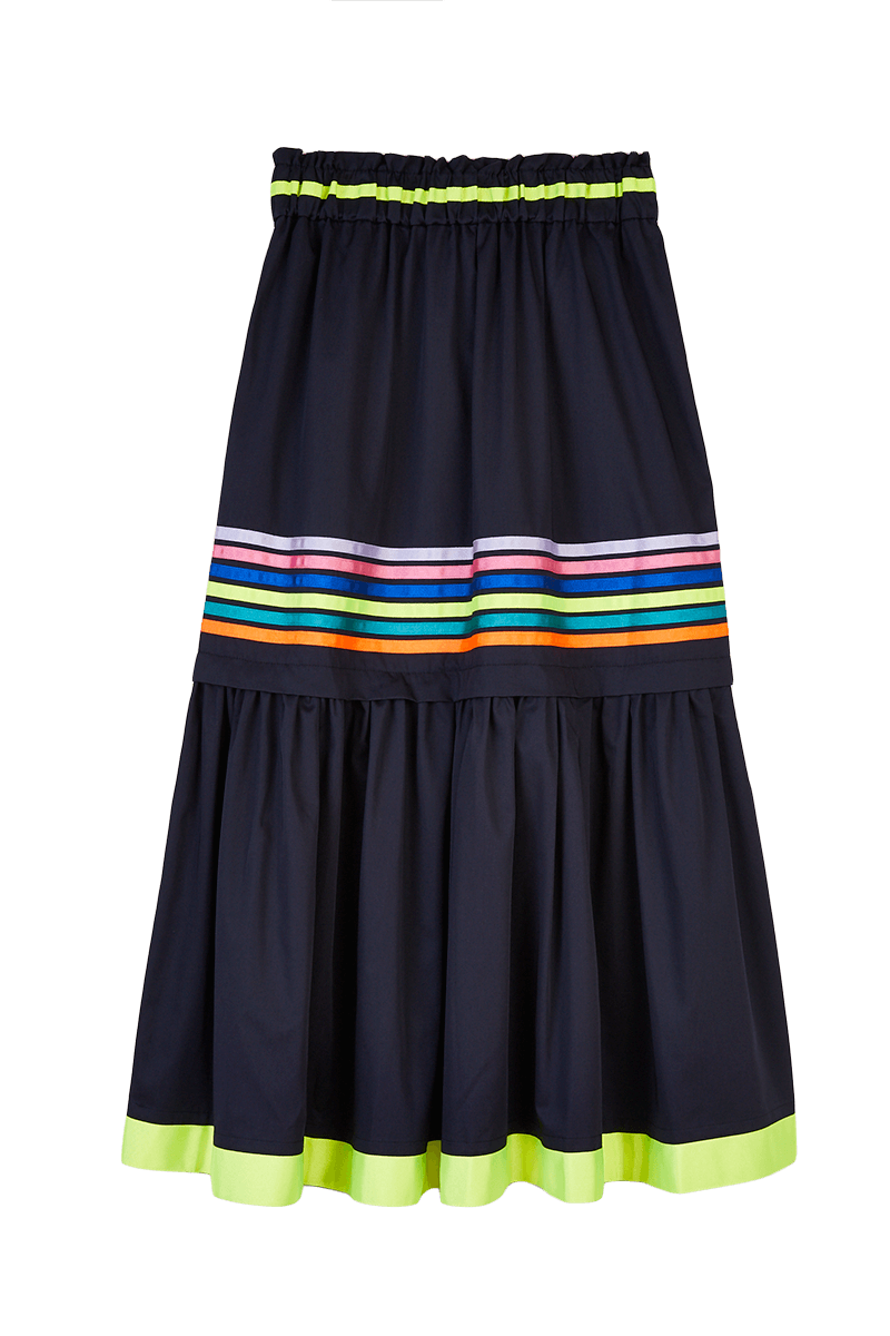 Ribbon Stripe Button Down Skirt