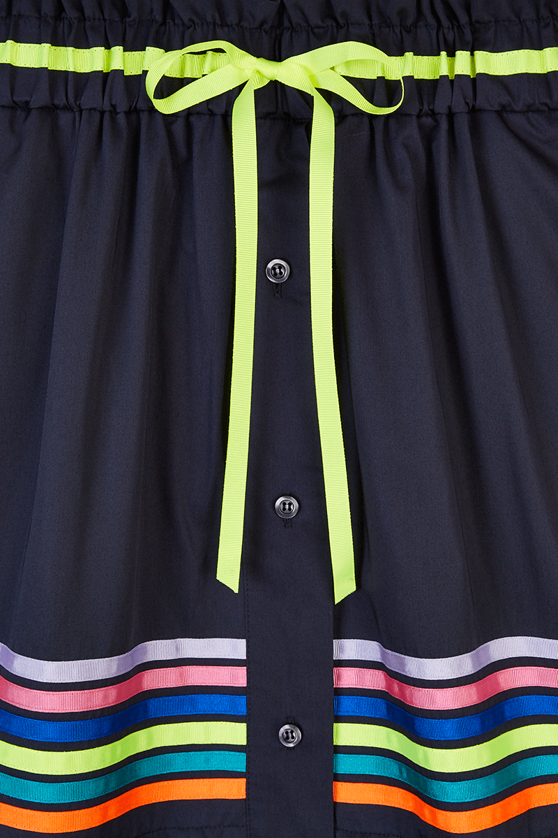 Ribbon Stripe Button Down Skirt detail