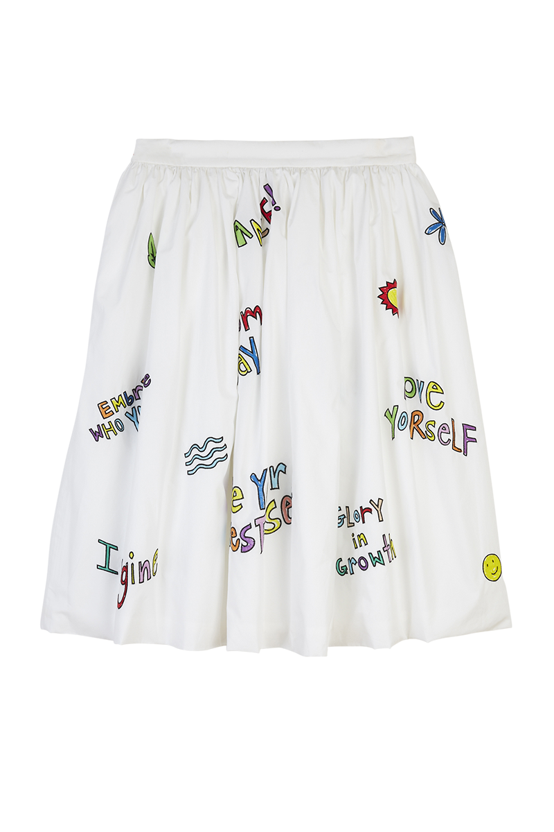 Wellness Print Embroidered Skirt