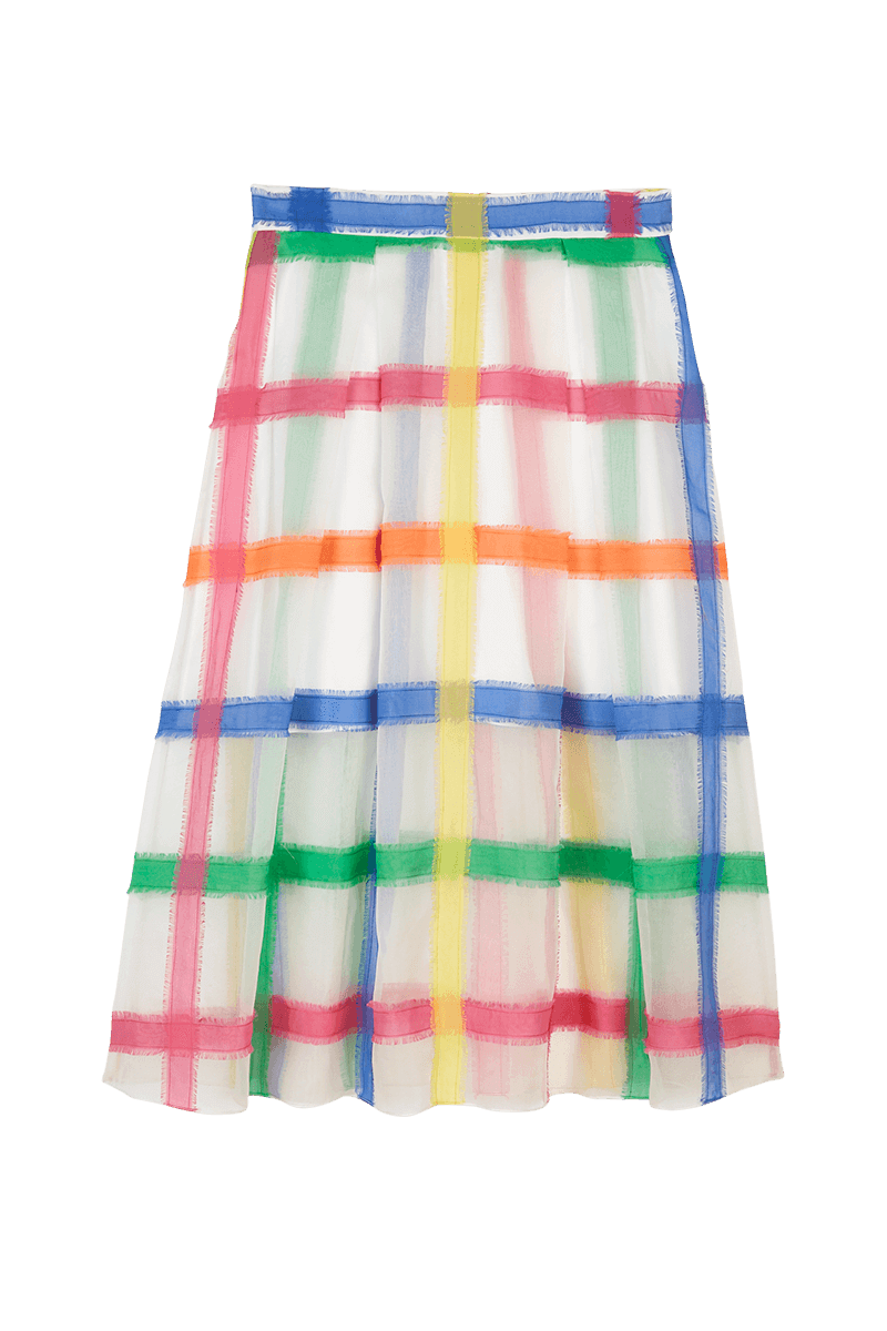 Organza Check Embroidered Skirt
