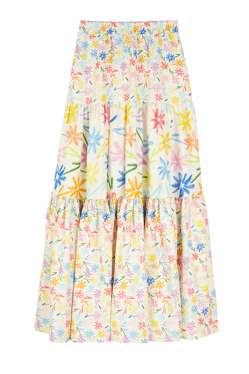 Flowers Tiered Maxi Skirt