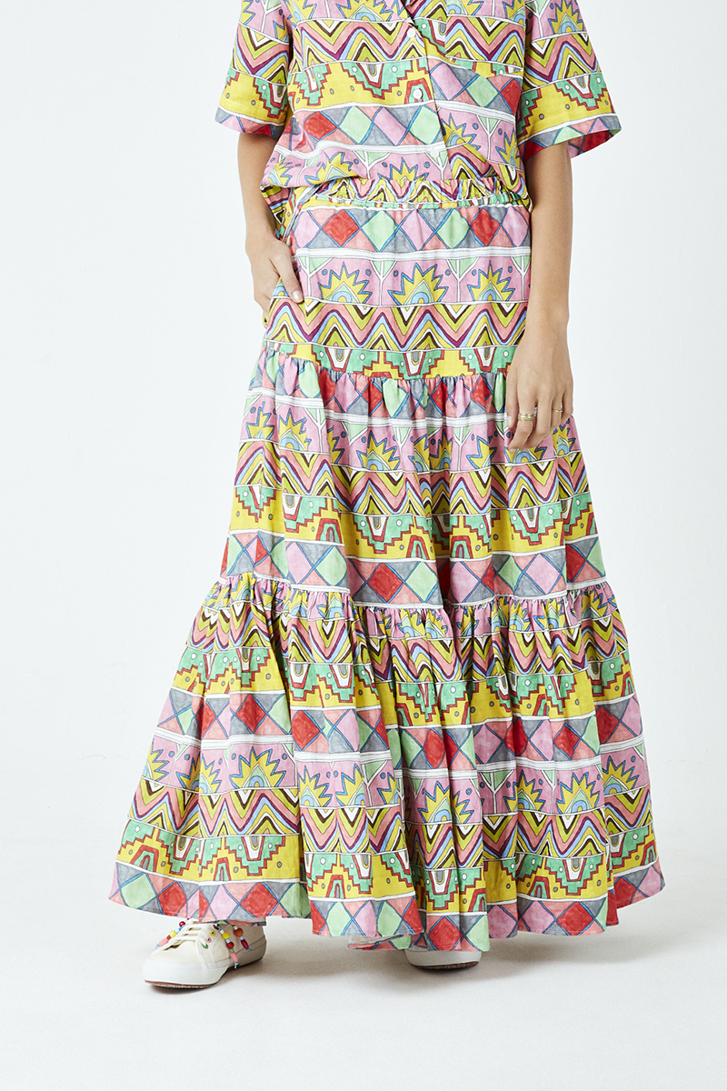 African Ribbon Tiered Maxi Skirt
