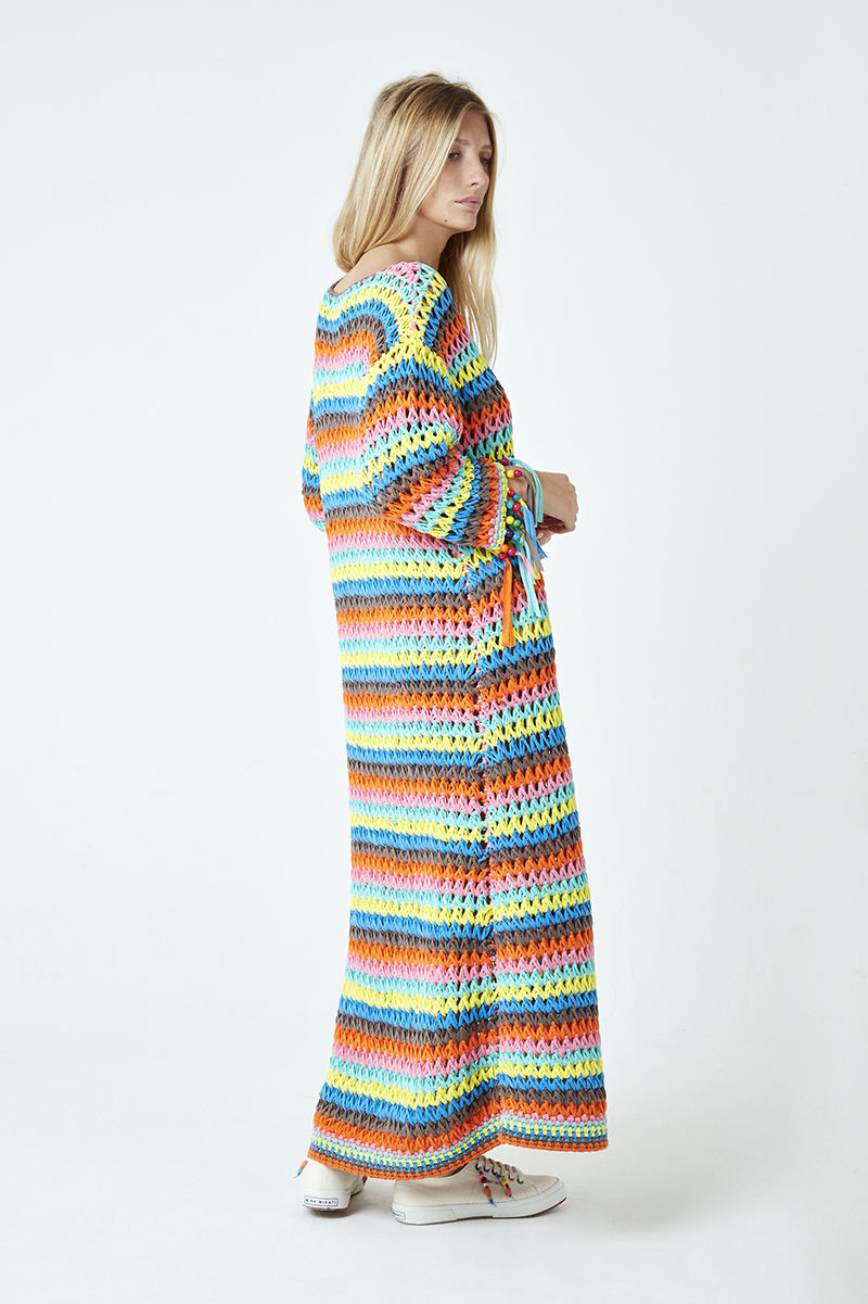 Rainbow Knit Beaded Fringe Dress