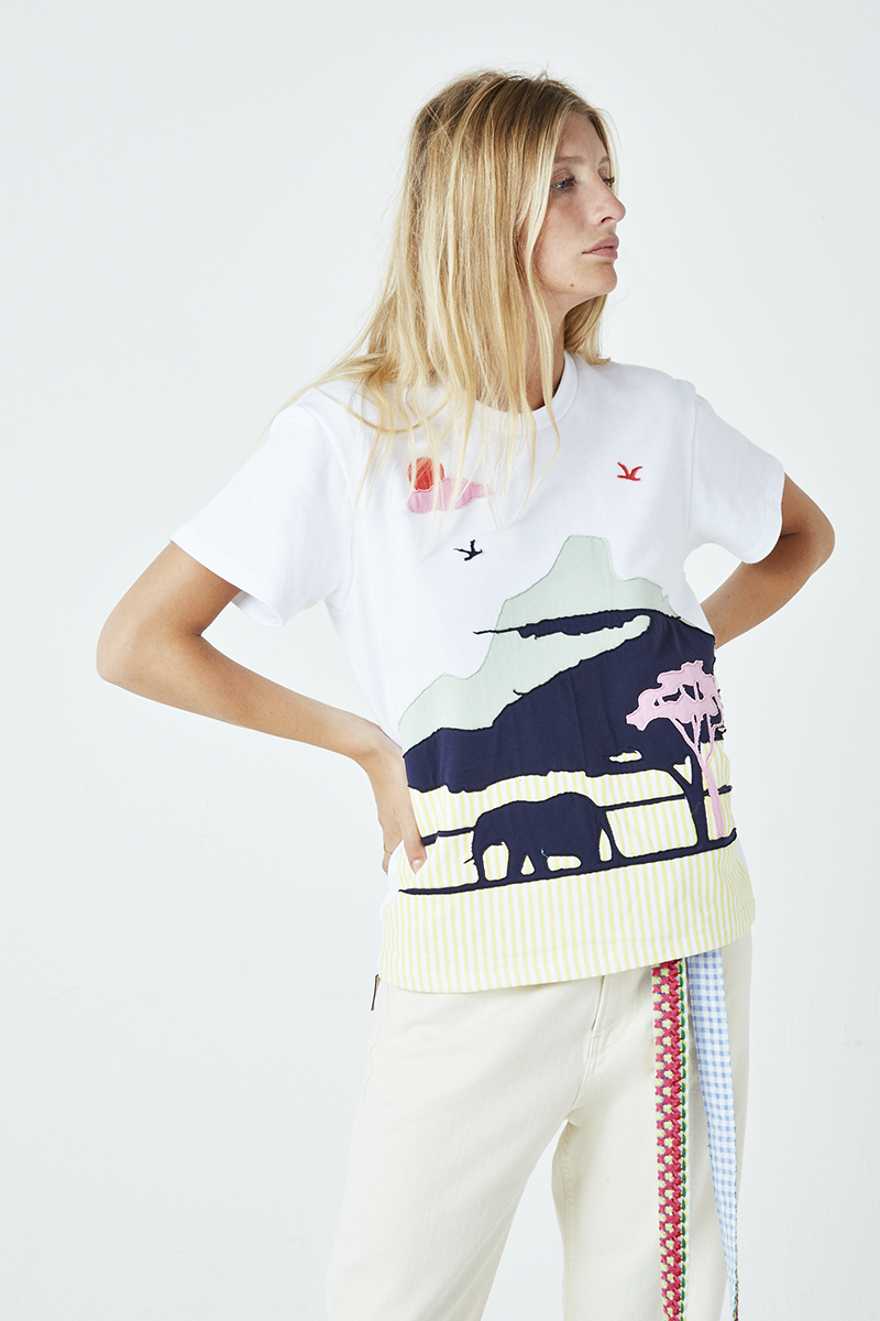 Safari Embroidered Short Sleeve Sweatshirt