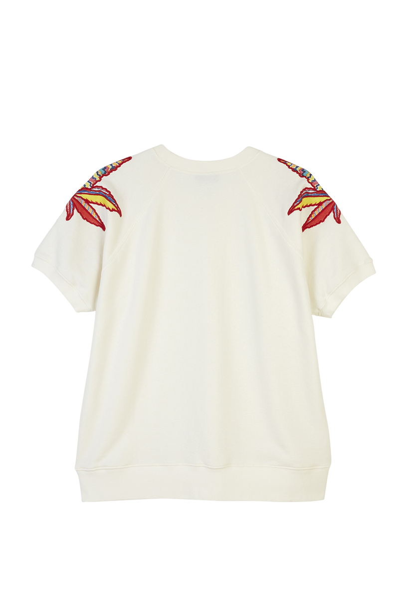 Leaf Appliqué Short Sleeve Sweatshirt