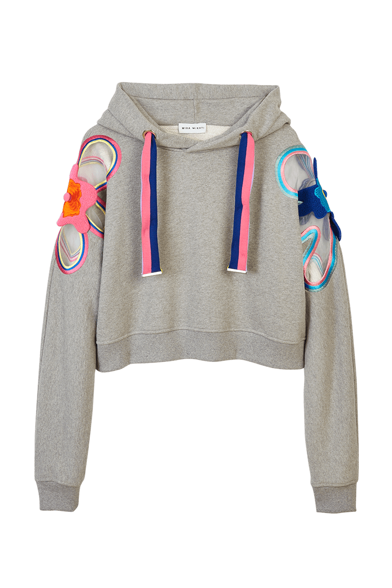 Flower Embroidered Cropped Hoodie