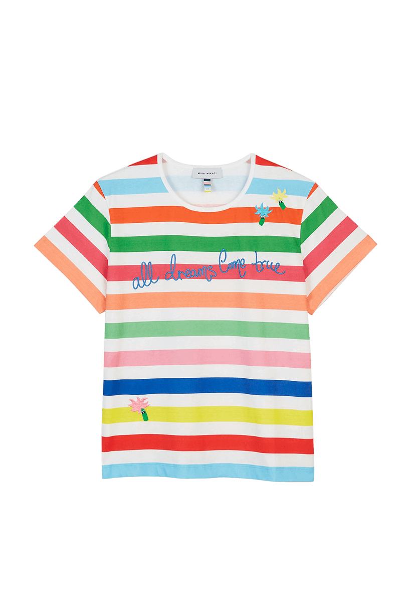 Rainbow Stripe Embroidered T-Shirt