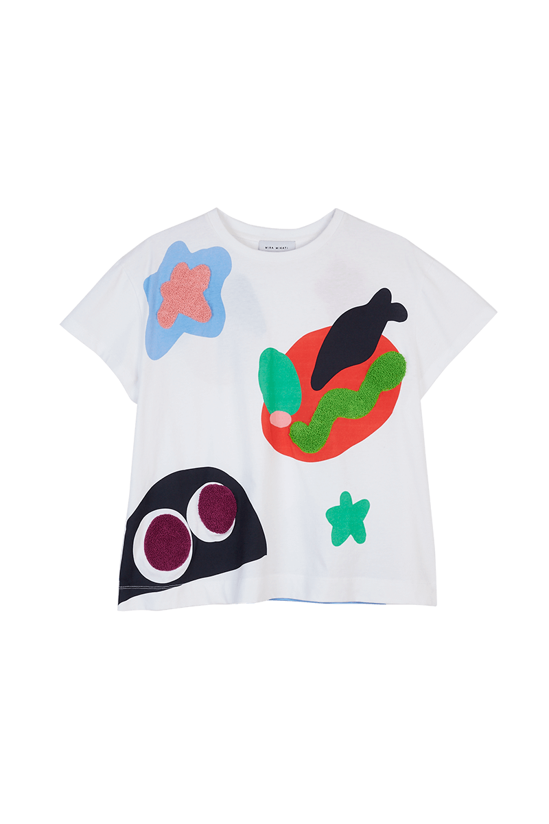 Monster Print Embroidered T-Shirt