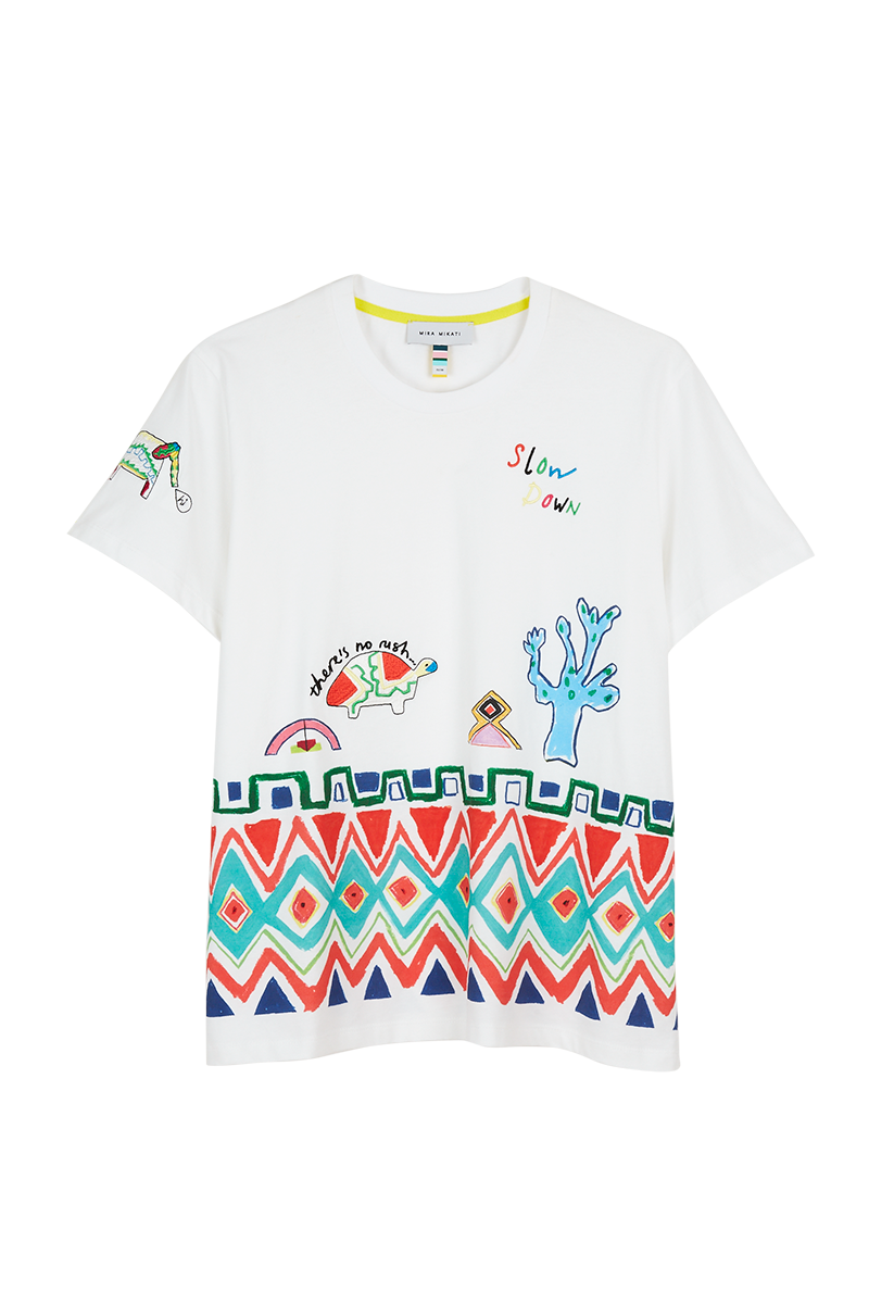 Geo Tribal Hem Embroidered T-Shirt