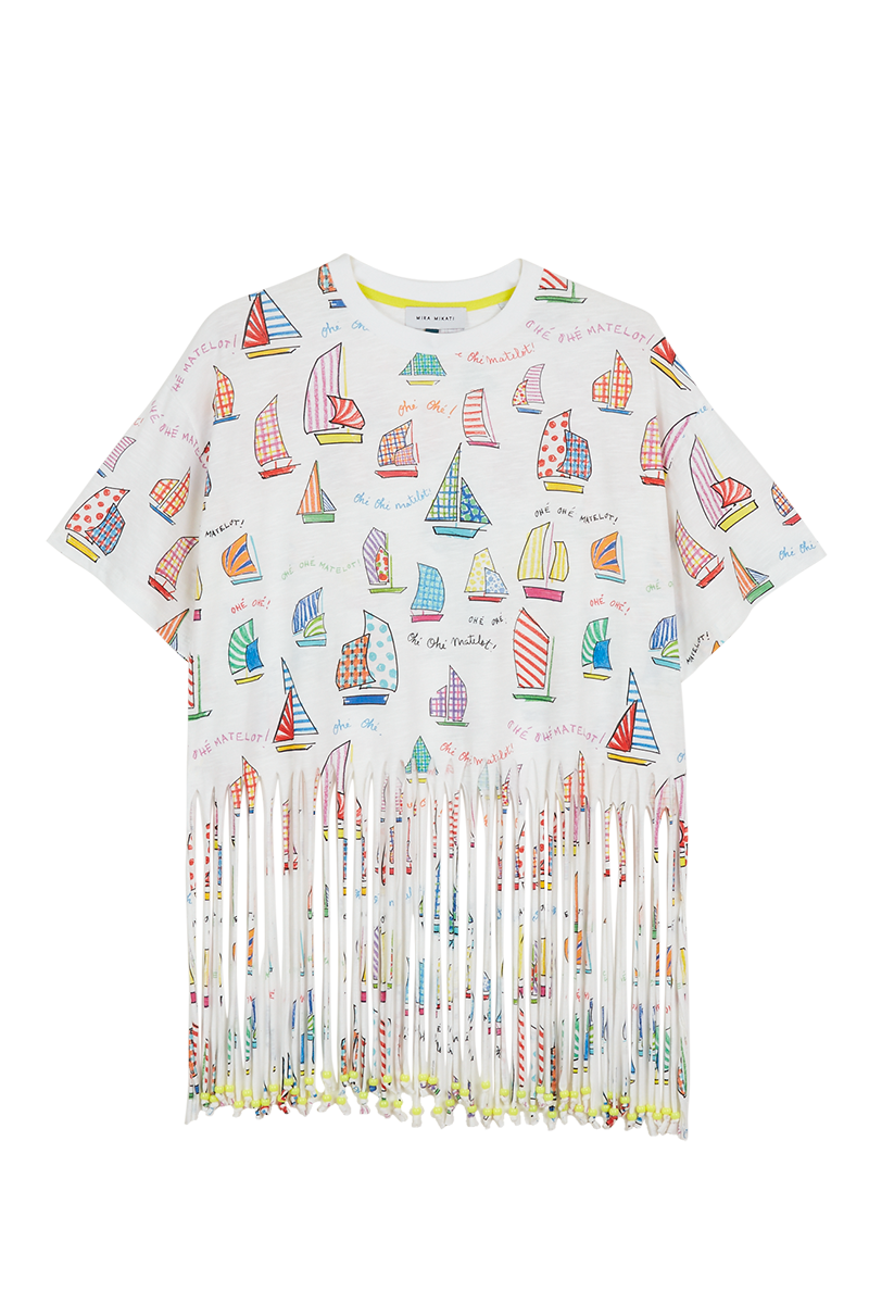 Sail Boat Beaded Fringe T-Shirt