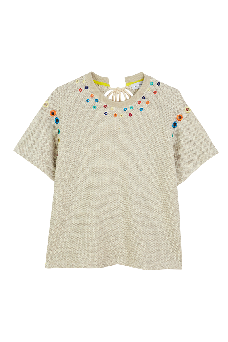 Beaded Cord Tie Back T-Shirt