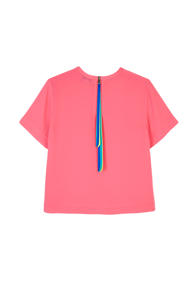 Ribbon Zip-Up T-Shirt