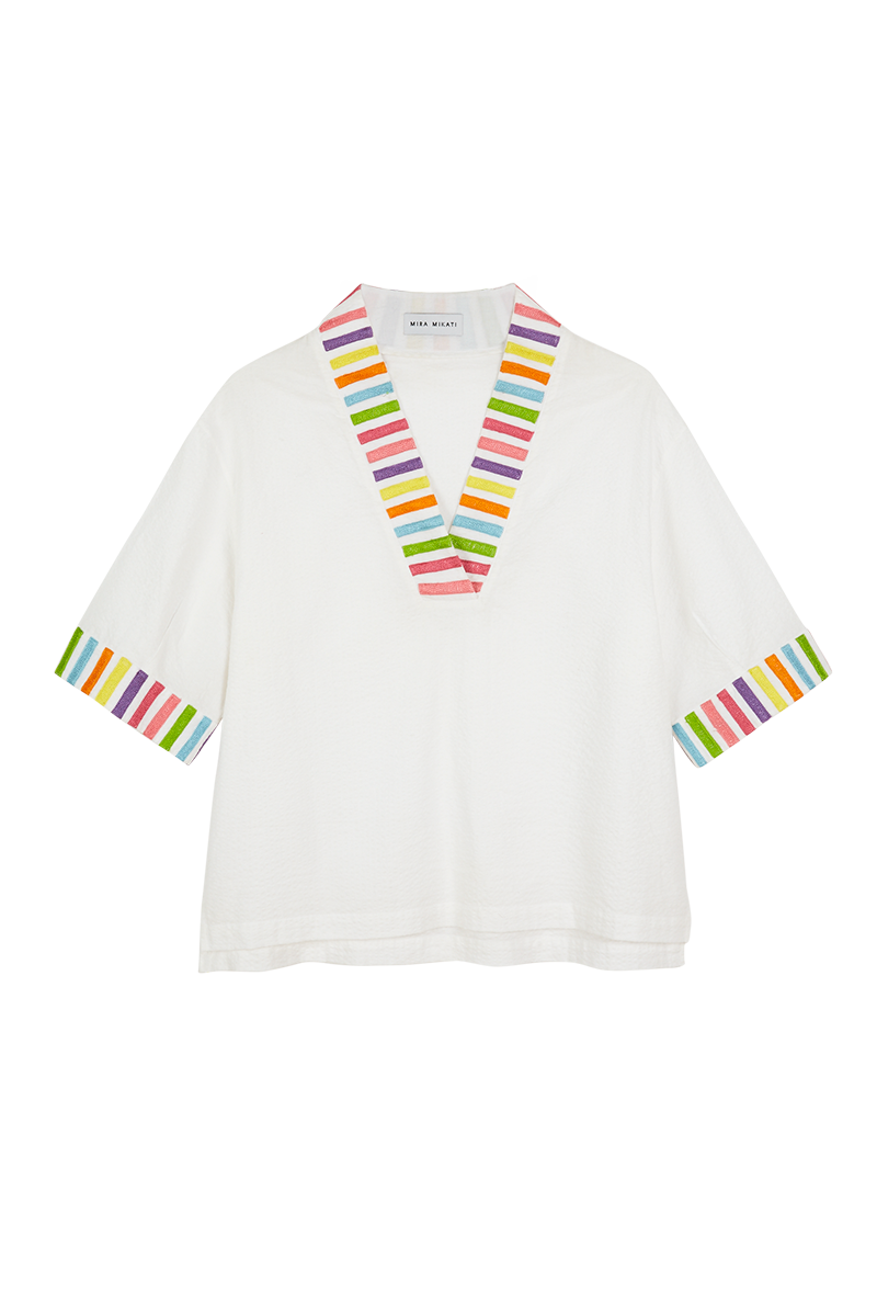 Embroidered Stripe V-Neck Top