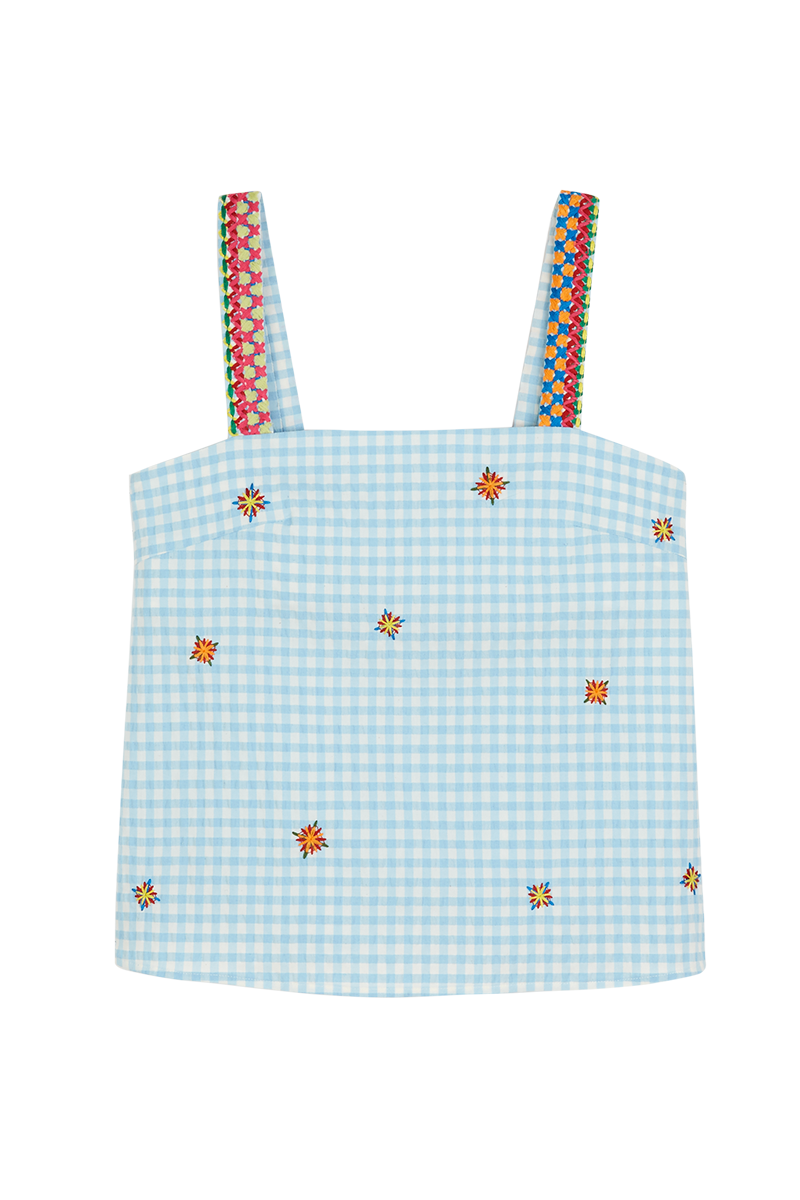 Gingham Embroidered Cami Top