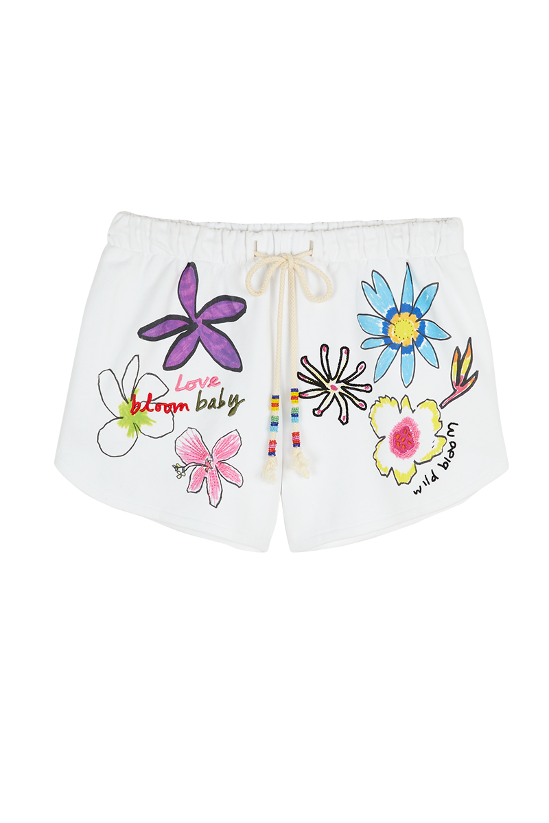 Collage Flower Embroidered Shorts