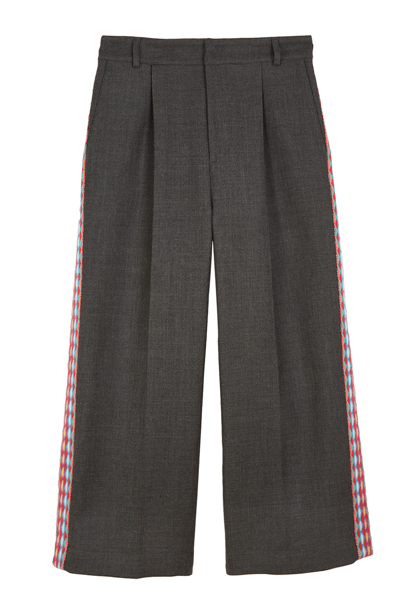 Embroidered Stripe Tailored Trousers