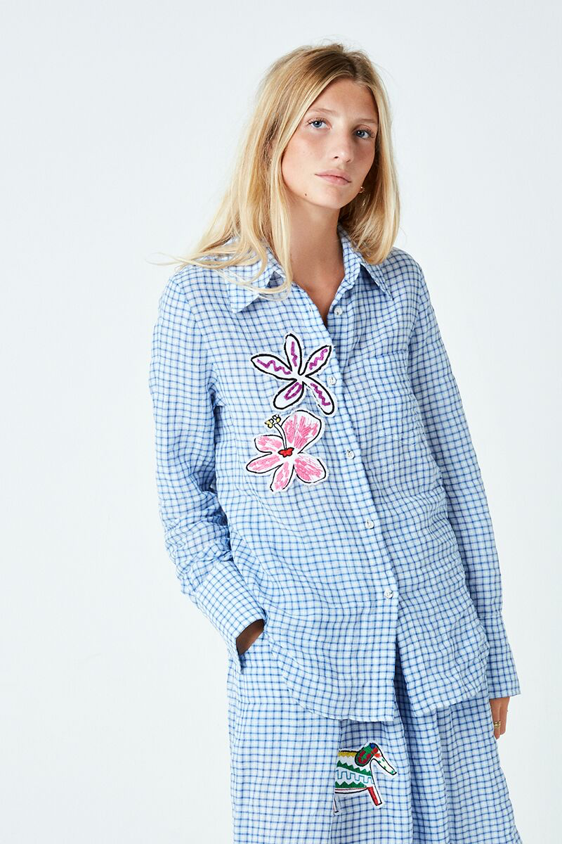 Check Flower Patch Shirt