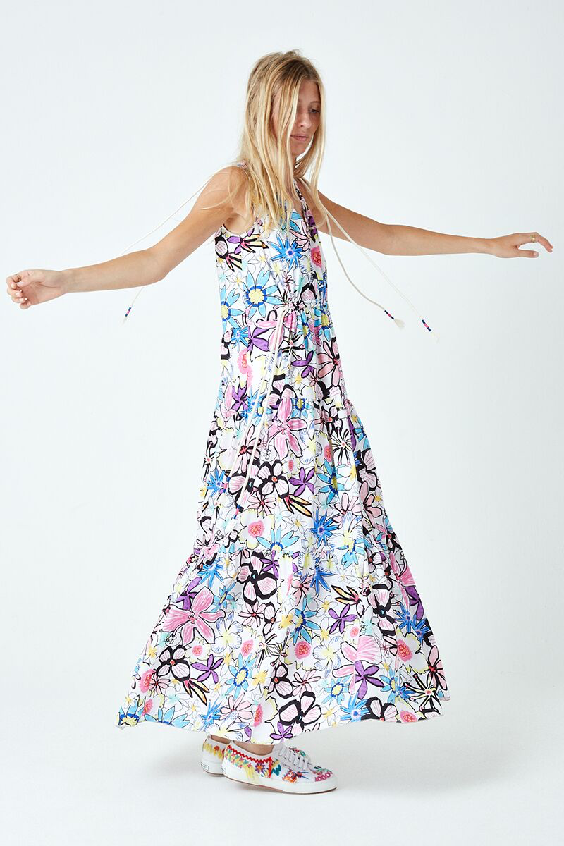 Bold Lines Flower Tiered Dress