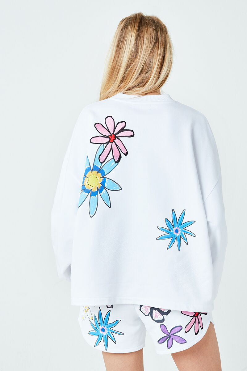 Collage Flower Embroidered Sweater