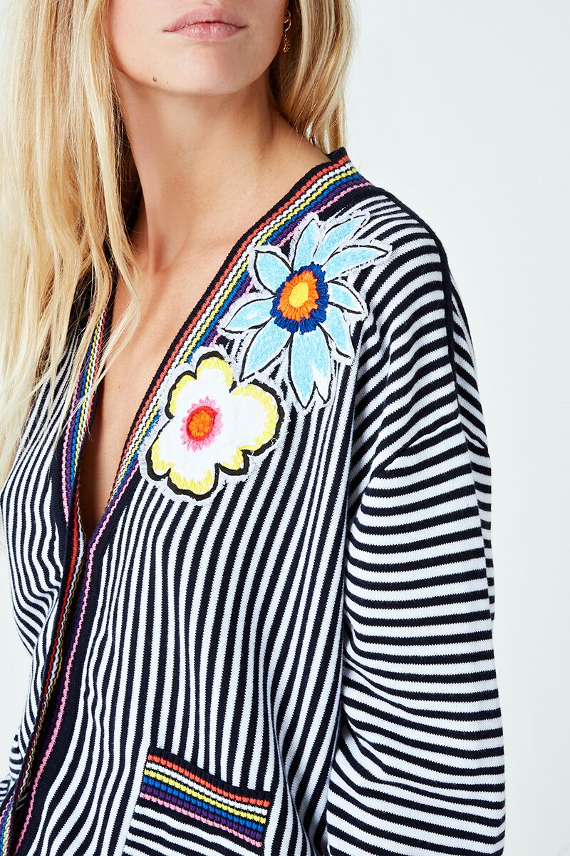 Embroidered Flowers Striped Cardigan