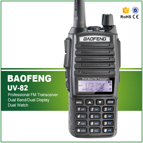 BAOFENG Dual Band UV-82 Amateur/ Ham 5W Handheld Radio UHF/VHF 128 CHS FM Transceiver with Earpiece