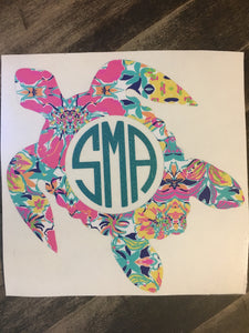 Lilly Pulitzer inspired sea life monogram decal sea turtle monogram sea horse decal
