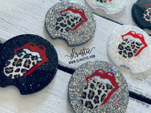Rock n Roll Leopard Glitter Car Coasters - Set of 2