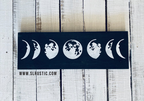 Moon phases wood sign