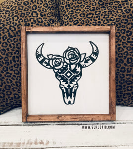Tribal Cow Skull wood sign