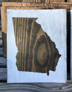 State wood sign - distressed
