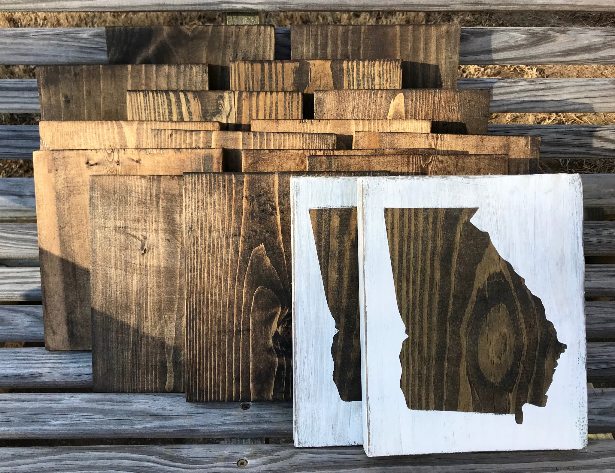 State Wood Sign Distressed Slrustic