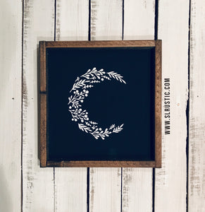 Floral Moon wood sign