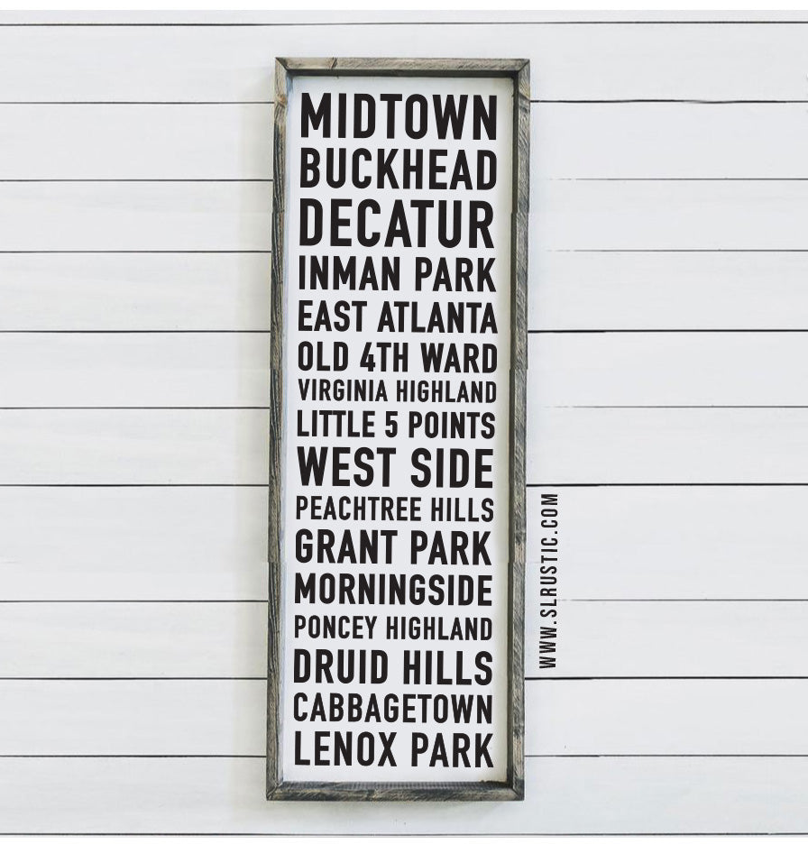 Atlanta Neighborhoods wood sign