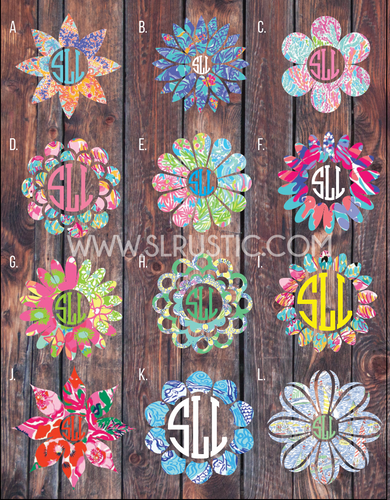 Lilly Pulitzer inspired Flower monogram decal