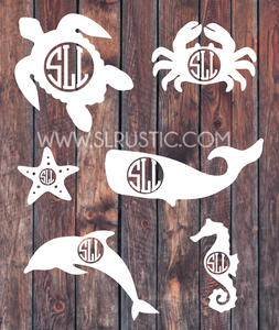 sea life monogram decal sea turtle monogram sea horse decal car decal yeti decal