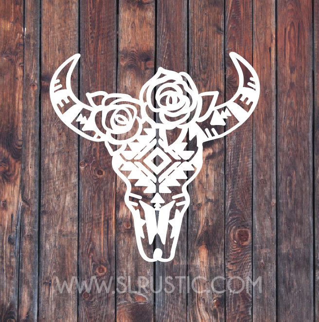 Cow skull decal car decal yeti decal