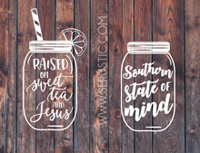 Mason jar decal, southern decal, jesus decal, southern raised, sweet tea and jesus, yeti cooler decal,laptop decal, car decal.