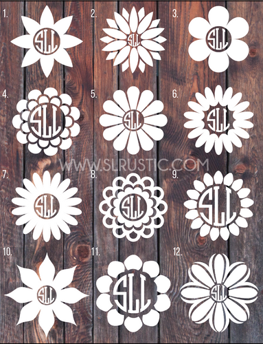 Flower Monogram Decal car decal yeti decal