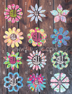 Lilly Pulitzer inspired Flower monogram decal 2