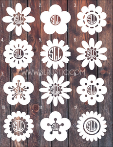 Flower Monogram Decal 3 car decal yeti decal