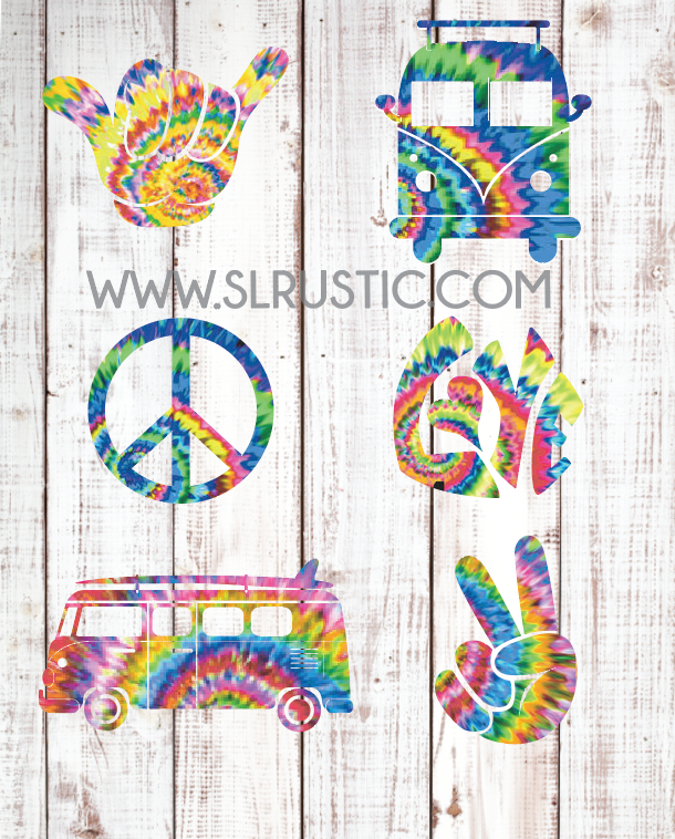 Tie-Dye Hippie decals, VW van decal, peace sign decal, shaka hand decal, love decal, car decal, yeti cooler decal, laptop decal.