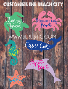 Custom beach city decal, vacation decal, sea turtle decal, Marine Life decal, car decal, beach decal, yeti cooler decal, favorite place.
