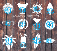 Two toned Beach Day monogram decal, Monogram sticker, seashell, sunglasses, surfboard, margarita, beach ball, laptop decal, car decal.